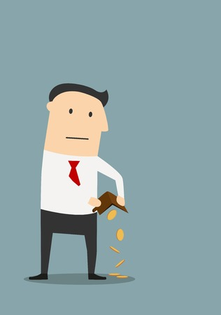 Bankruptcy, financial crisis or insolvency theme. Cartoon bankrupt businessman holding empty wallet with last few coins Ilustrace