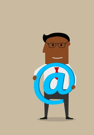 communication cartoon: Modern communication and telecommunication technology concept with smiling cartoon businessman in glasses with blue glowing e-mail symbol in hands