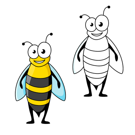 googly: Cheerful smiling cartoon wasp character with black and yellow striped abdomen and long wings. Funny insect for children book or team mascot design Illustration