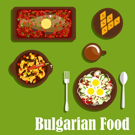 baked beans: Delicious dinner of bulgarian cuisine with vegetarian salad with tomato, onion, mushroom, pepper, haricot beans and eggs, spicy stew, baked carp with vegetables, baklava with nuts and drink. Flat style