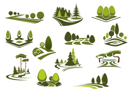 平和な自然路地、装飾用の木、茂み、公共の公園、庭園、または森林の美しい湖と草の芝生を歩く緑のアイコンを風景します。