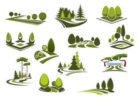 Spokojna Natura Krajobrazy ikony z zielonych alejek spacerowych, drzewa i krzewy ozdobne, piękne jezioro i trawniki trawy miejskich parków, ogrodów i lasów