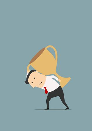 burden: Heavy burden of victory business concept. Tired and disappointed cartoon businessman is carrying a huge golden trophy on back Illustration