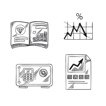 interest rate: Finance, investment and banking sketch icons with financial bar graph, line chart of bank interest rate, precious metals market trends and safe with digital lock