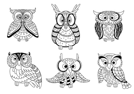 wise owl: Cartoon colorless forest owls and funny owlets with decorative feathers. Animal characters for children book, education mascot, Halloween design. Outline style