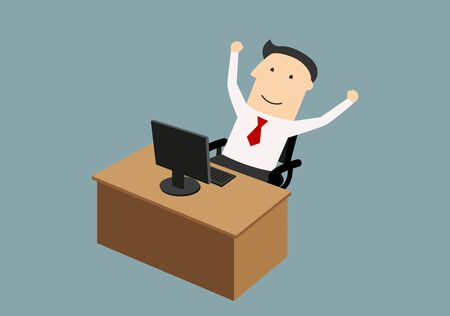 goal achievement: Success, goal achievement or good news concept. Happy businessman sitting neap computer and enjoying success with raised hands Illustration