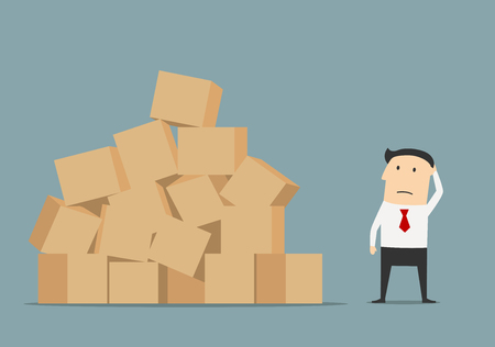 hoard: Pensive businessman standing near a huge pile of cardboard boxes. He thinking how to deliver or store all packages Illustration