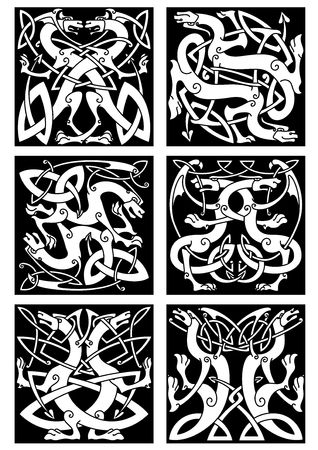 scroll tracery: Magic dragons celtic patterns with traditional medieval knot ornament and tribal decorative elements. May be used as tattoo, heraldic emblem or embellishment design