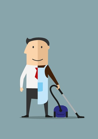 cleaner: Balance between business and personal life concept. Cartoon smiling businessman in suit and necktie on the left and in apron with vacuum cleaner on the right