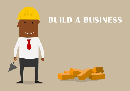building bricks: Build a business and start-up theme concept. Cartoon businessman in yellow hard hat building a new business with mason trowel and bricks Illustration