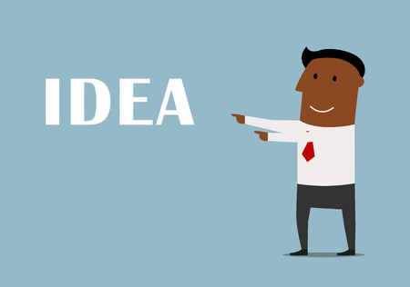 ponder: Presentation of a new idea business concept. Confident smiling african american businessman pointing to Idea