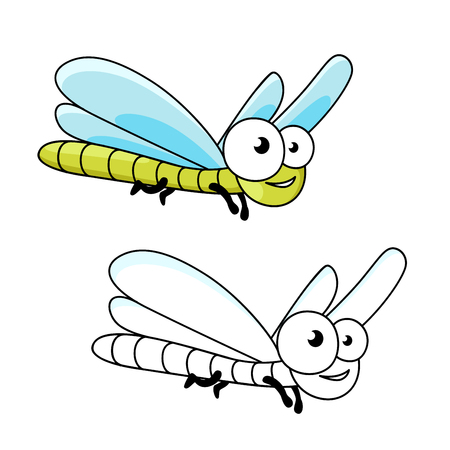 is slender: Cartoon smiling green dragonfly insect with long slender abdomen and transparent blue wings. Funny insect for mascot, children book or t-shirt print usage Illustration
