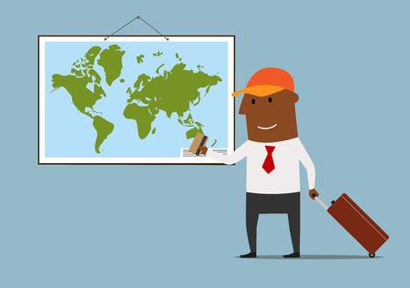 banco mundial: empresario de dibujos animados feliz con la maleta de pie cerca de mapa del mundo y la planificación de las vacaciones tarjeta de crédito bancaria en la mano. Grande para el concepto de viaje y el tema del turismo