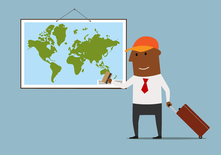 banco mundial: Happy cartoon businessman with suitcase standing near world map and planning vacation bank credit card in hand. Great for travel and tourism theme concept