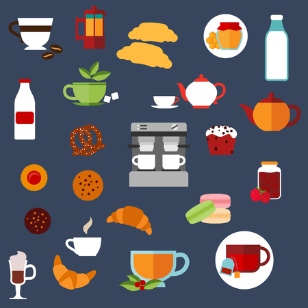 croissants: Breakfast food and drinks flat icons with croissants, cakes, coffee machine and teapots, milk bottles, cookies, cups of hot beverages, macaroons, honey and jam jars, pretzel. Vector illustration