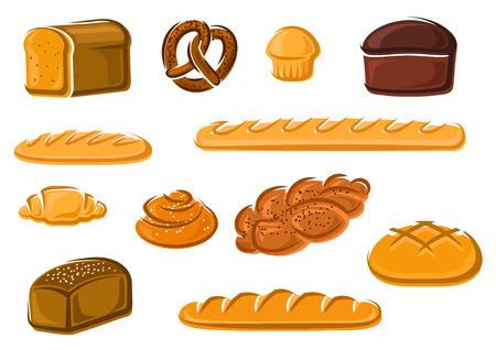 produits céréaliers: grain sain entier naturel, pains de blé et de seigle de pain, baguette française et croissant, gâteau sucré, la cannelle et brioches tressées, bretzels bavarois. Boulangerie et pâtisserie pour emblème, enseigne ou de la conception de l'atelier de boulanger. Vecteur