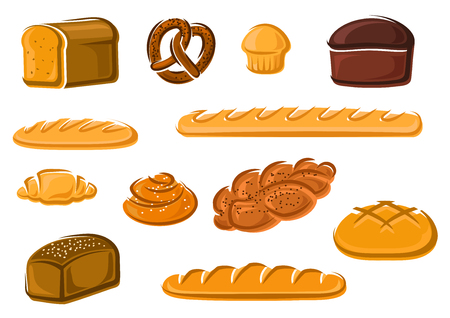 grains: Healthy natural whole grain, wheat and rye loaves of bread, french baguette and croissant, sweet cake, cinnamon and plaited buns, bavarian pretzel. Bakery and pastry products for emblem, signboard or baker shop design. Vector