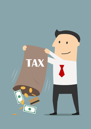 payday: Tax time concept theme. Vector. Satisfied businessman taxpayer pouring out from a bag of collected taxes a credit cards, money bills and coins Illustration