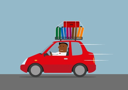 illustration journey: Travel by car, vacation or weekend journey concept. Happy relaxed businessman traveling by red car with luggage. Vector illustration