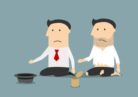 begging: Bankruptcy, jobless, poverty or financial crisis theme. Cartoon jobless bankrupt businessman and pauper begging for money, job or food