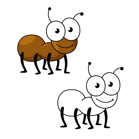 Cartoon little brown worker ant insect with smiling face and funny googly eyes. Insect character for mascot, children book or fauna themes