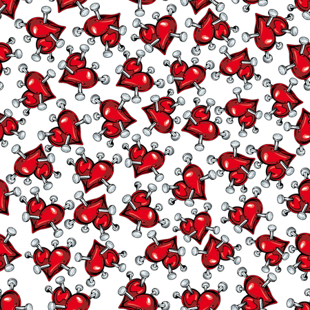 pierced: Cartoon red hearts pierced by nails seamless pattern on white background. For love, Valentine day or broken heart concept design