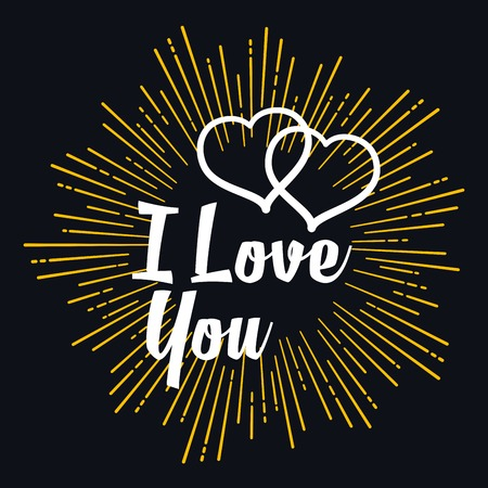 gold heart: I Love you text in strarburst or firework shape on dark background. For Valentine Day holiday, love concept or greeting card design