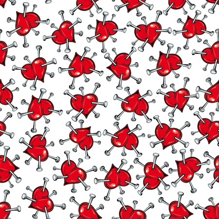 heartbreak: Seamless vector pattern of scattered red hearts studded with nails symbolic of heartbreak and unhappiness in love or of ill health and heart problems Illustration