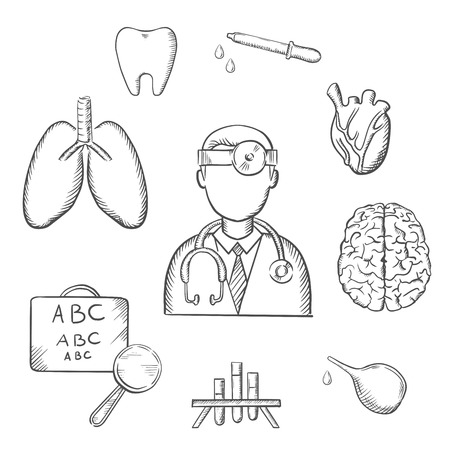 cross: Medical sketch icons with doctor encircled by an eye chart, lungs, tooth, eye, dropper, test tubes, brain and heart depicting examination, diagnosis and treatment. Sketch style vector objects