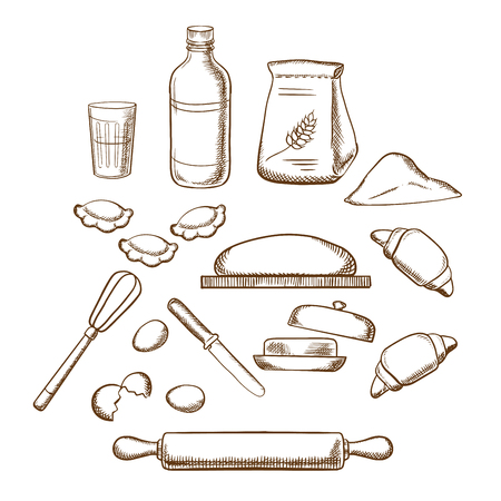 Process of kneading dough with icons of dough, milk, butter, eggs, flour and kitchen utensils. Sketched icons