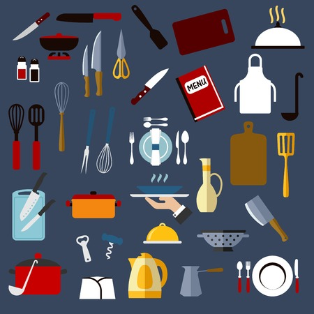 shakers: Kitchen utensil and dishware flat icons of chef hat, pots, knives, cutting boards, forks, spoons, ladles, spatulas, whisks, kettle, plates, trays, coffee pot and apron, menu, jug, colander, pepper and salt shakers, corkscrew and scissors