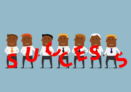 team cooperation: Power of teamwork, successful partnership and cooperation business concept. Cheerful african american business team putting together big letters to create a word success
