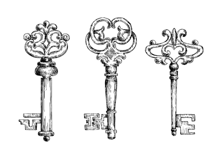 antique keys: Three vintage medieval sketched key skeletons isolated on white background. For ancient or heraldry theme design usage