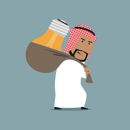 business education: Creative arab businessman is carrying a big bright idea light bulb on back. Cartoon business concept of idea, creative mind, smart solution