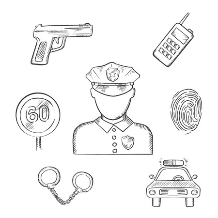 portable radio: Policeman profession icons with officer in uniform surrounded by police car, portable radio transceiver, fingerprint, handcuffs, gun and speed limit sign. Sketch style