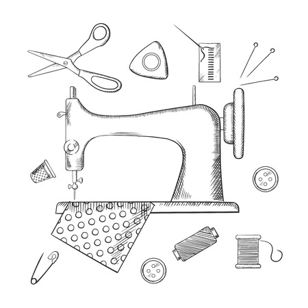thimble: Sketched sewing icons surrounding a sewing machine with pin, thread, yarn, thimble, button and cloth. Sketch style vector illustration