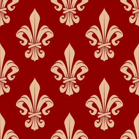 royal french lily symbols: Floral royal french seamless pattern with beige fleur-de-lis flowers on red background. For interior or textile design Illustration
