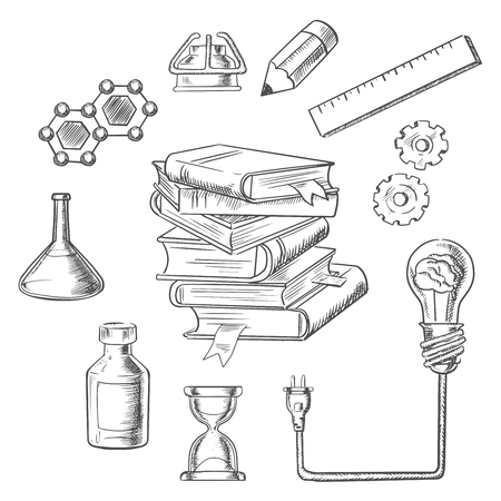 sketches: Knowledge and web education sketch design with light bulb plugged into a tall stack of books. Surrounded by flasks, DNA, hourglass, gears, ruler, atom and pencil