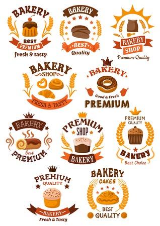 Bakery, dessert e pasticceria distintivi o emblemi con icone da forno assortiti come pane, torte, bigné, pretzel, ciambella e pasta. Molti incorporano spighe di grano, vettore su bianco