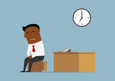 resign: Fired cartoon dark skinned businessman packed his suitcase and sit down for a moment at his workplace for a last time after bankruptcy. Unemployment, bankrupt and jobless concept Illustration