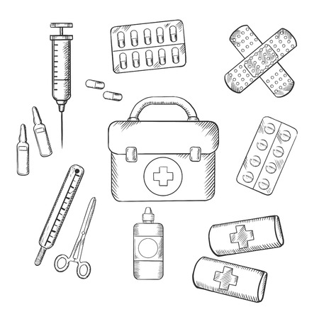 aid: Ambulance concept with a sketch icons of a first aid kit, plasters, medication, forceps, syringe and tablets. For medicine and healthcare theme design
