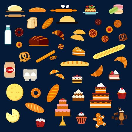 rye bread: Bakery and pastry flat icons with cakes and cupcakes with cream and fruits, pies, buns, croissants, cookies, macarons, pancakes, donuts, pretzels, baguettes, long loaves of wheat and rye bread, toasts and dough ingredients Illustration