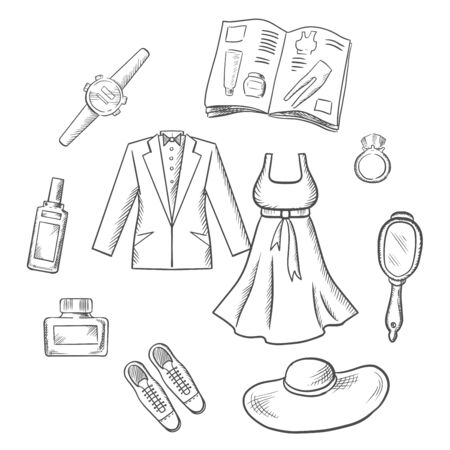 sketched icons: Sketched fashion icons with scattered male and female clothing, accessories, shoes, hat, jewelery, catalogue and mirror