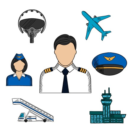 cabin attendant: Pilot and aviation hand drawn colorful icons with captain in white uniform surrounded by stewardess, airplane, flight helmet, peaked cap, airport building and aircraft steps. Sketch vector Illustration