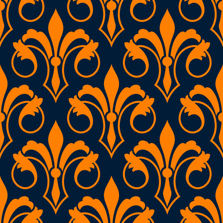 blue petals: Orange fleur-de-lis seamless pattern of stylized victorian lily flowers with petals and swirling leaves over dark blue background. Royal heraldry backdrop, interior and textile design usage Illustration