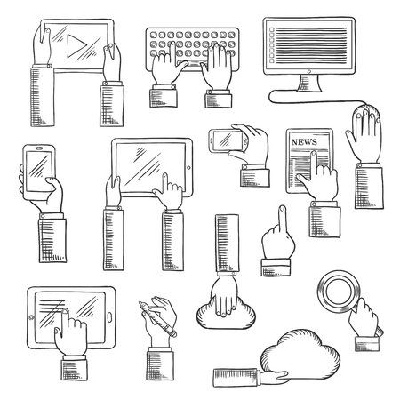 communication icons: Digital devices and web technology icons with human hands working on tablets, desktop computer, keyboard, smartphones, digital pen, cloud data storage and search application. Sketch style vector Illustration