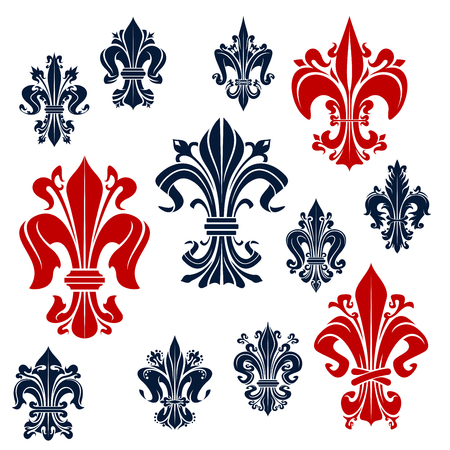 Gorgeous fleur-de-lis red and blue symbols of decorative french monarchy lily flowers, adorned by curly tendrils. Ornamental medieval royal symbols for heraldry, accessories and tattoo design