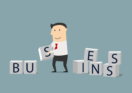 business letters: Build your own business or startup concept. Smiling focused businessman building a word Business from cubes with letters