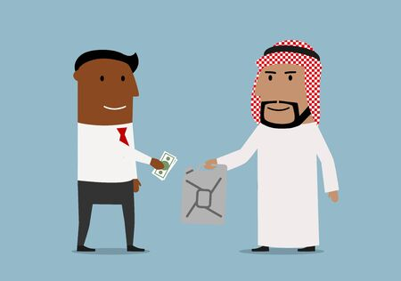 energy market: Global market of oil resources, sale transaction, international business theme. Smiling cartoon arab businessman selling oil jerrycan to african american businessman