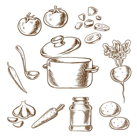 Sketch Vektor Rezept von vegetarische Suppe mit Kochtopf und Pfannen umgeben von Kohl, Rüben, Knoblauch, Zwiebeln, Karotten, Tomaten und Kartoffel-Gemüse und Gewürzen